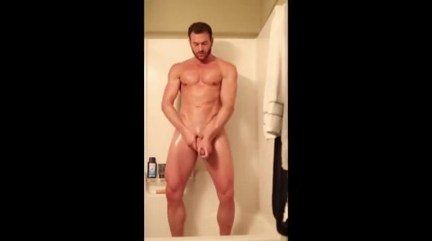 Hot Guy Jerks Off In The Shower. Gorgeous Body. Tall Guy Wanking In Shower.
