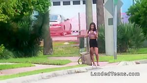 Busty Latina Teen Bangs In The Car In Public