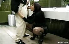 Brunette MILF Gets Screwed In Public Restroom