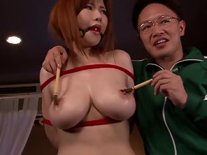 Redhead Chinese Girl Banged By Foursome On Bed