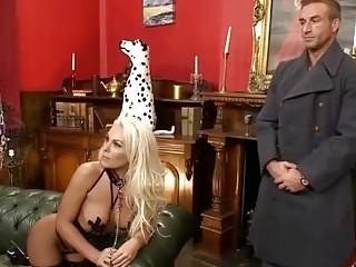 Dog On A Leash Fucks Her Owners Slave Big Tits Milf Bitch