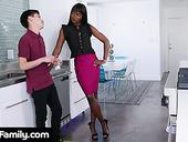 Slender Ebony Stepmom Ana Foxxx Bangs White Stepson Right In The Kitchen