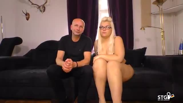 SEXTAPE GERMANY   Chubby German Blonde Slut With Glasses Sucks And Rides Cock For First Porn