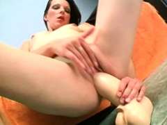 Russian Amateur Fucking A Fat Brutal Dildo And Gaping