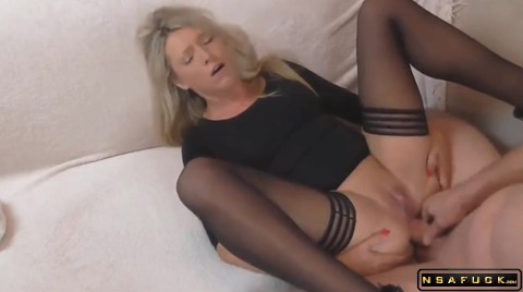 Kinky Blonde Milf In Stockings Takes A Hard Cock Up Her Ass