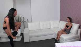 Female Agent Shows Her Licking And Fingering Skills To Euro Girl Clair