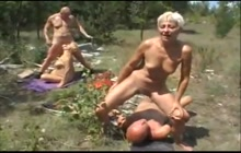 Outdoor Foursome With Two Horny Grannies