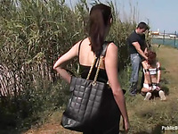Leash, Gagging, Spanking   Public Disgrace For Shy Redhead Girl.