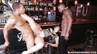 Brunette Milf Satisfies Two Black Cocks