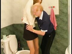 Hot Old And Young Sex Scene In The Bathroom