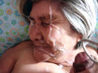 Poor Granny Jizzed All Over Face