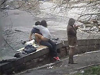 Naughty Girl Is Riding Cock Outdoors While Her Friend Is Watching The Guard