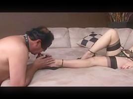 Kinky Mistress In Stockings Fucks Her Thrall