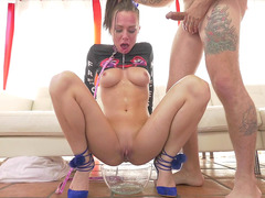 Aidra Fox Deepthroats His Dong, Simultaneously Squirting Pussy Juice Into A Bowl