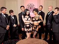 Veronica Avluv And Her Husband Have Arranged To Enjoy Her Ultimate Fantasy Tonight: Five Well Hung Dudes Are Booked To Show Up At Her Mansion And Help Bang The Sweet Fuck Out Of All Her Holes. She's Brought Along Her Slutty Little Assistant Bonnie Rotten, To Help Her Push Beyond The Limits Of What You Thought Possible, Until They Squirt On All The Furniture, Spraying Hot Cum Over And Over. Get Ready For An Epic Hour Long Fuckfest, With Six Dicks Laying Down Double Vag, Triple Penetration, Double Sucking, And More Filthy DPs Than You Can Shake A Dick At!
