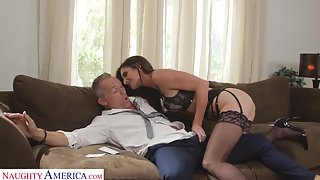 Lucky Old Dude Smashed A Very Horny Brunette Maid