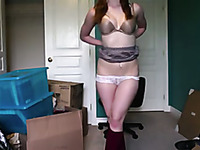 This Redhead Masturbates At Home And She Doesn't Want To Get Caught