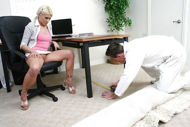 Blonde Secretary Is Wearing No Panties