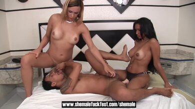 Shemale Fucks Guy And Girl In A Hot Threesome Shemale Fuck Fest