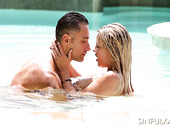 Just Married Couple Is Making Love In The Pool
