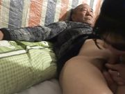 Chinese Old Man With Younger Women