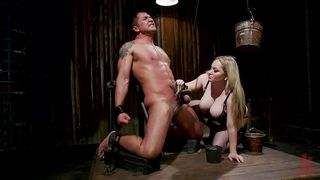 Busty Blonde Loves To Torture Muscular Studs