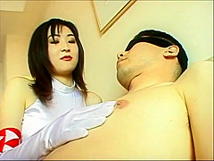 Tied Man Humiliated By Gloved Racing Model
