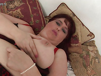 Red Haired Bbw With Sagged Breasts Is Touching Her And Dildoing