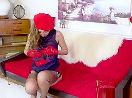 Brunette French Chloe Takes Off Panties Wanks Hairy Pussy In Sexy Stockings