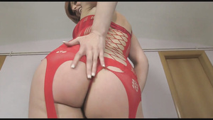 Red Haired Chick In Red Catsuit Gets Ass Filled With Cum
