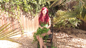 Fetish Model With Red Hair Poison Ivy Posing Outdoors
