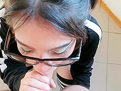Nerdy Cute Girl With Glasses Swallow All The Cum Of His Classmate