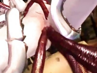 3D Animated Cutie Drilled All Hole By Tentacles Cock