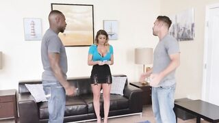 Busty MILF Is Sucking Off And Banging A BBC And A White Cock In A Threesome