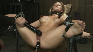 Restrained Blonde Is Anally Banged By A Fuck Machine While Pussy Teased With Magic Wand