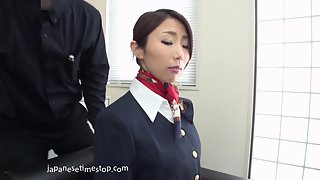 Horny Asian Stewardess Rubs Cunt Over Pantyhose