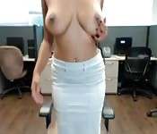 Hot Office Girl With Big Tits And Big Ass Stripping And Masturbating For Your Hotcock