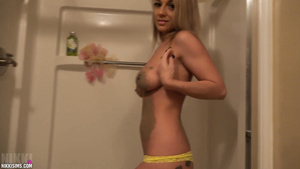 Busty Wet Blonde Touching Herself During Shower Fun Time