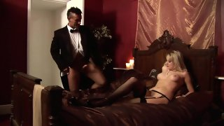 Sexy Blonde In Nylons With Nice Natural Body Getting Licked And Banged In Her Shaved Cunt