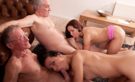 Good Old Friends Sharing Their New Young Girlfriends In Dirty Foursome