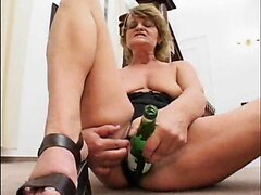 MILF Strip And Bottle Play For Husband
