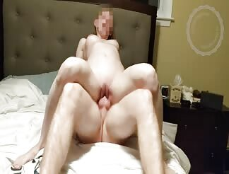 Pale Amateur Rides With Her Shaved Pussy