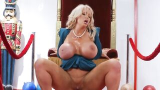 Busty Blonde MILF Is Sucking Off And Riding A Massive Cock Of A Teen Santa