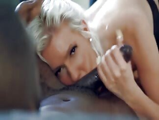 A Hot Blonde Blows His Black Cock