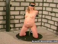 Blonde Girl Was Hooked By A Pervert And He Hung The Iron Balls On The Labia