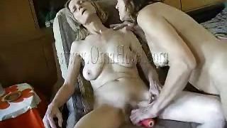 Brunette Dildos Oma And Then Herself