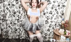 Desirable Hot Asian In Pantyhose Spreads Herself