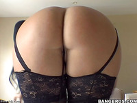 Pretty Latina In Black Stockings Is Demonstrating Her Appetizing Ass