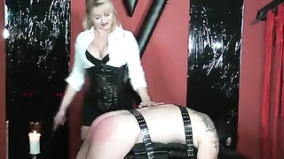 Femdom Small Spanking Slave Tied Up On Spanking Bench