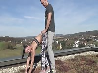 Stretching On The Roof Turns Into Pussy Stretching